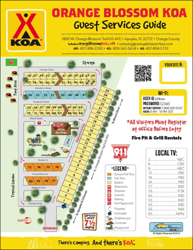 Park Map Of Orange Blossom KOA Orlandos Great New RV Park - Koa us map